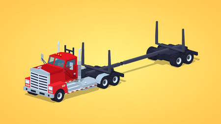 Empty log truck against the yellow background. 3D lowpoly isometric vector illustration Иллюстрация