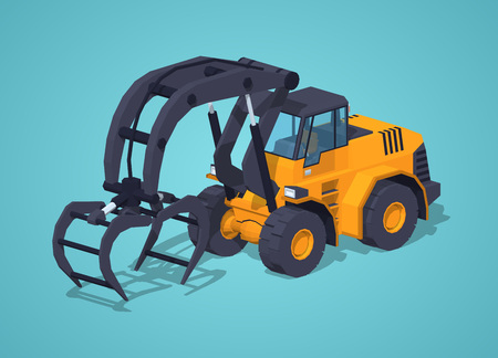 logging: Yellow log loader against the blue background. 3D lowpoly isometric vector illustration Illustration