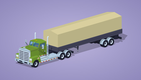 tarpaulin: Green heavy truck and trailer with the tarpaulin tent against the purple background. 3D lowpoly isometric vector illustration Illustration
