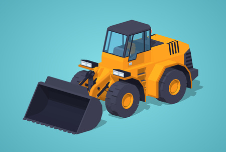 construction vehicle: Yellow heavy bulldozer against the blue background. 3D lowpoly isometric vector illustration