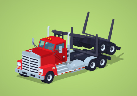 hauling: Folded log truck against the green background. 3D lowpoly isometric vector illustration Illustration
