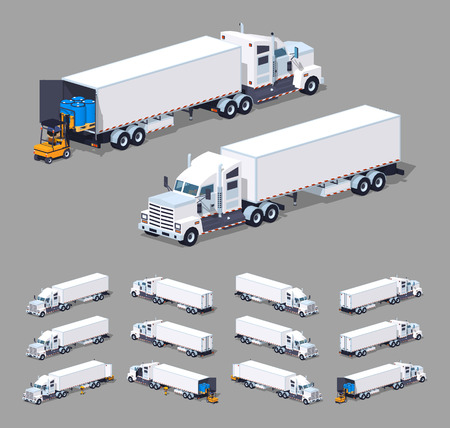 trucker: Heavy american white truck with the trailer. 3D lowpoly isometric vector illustration. The set of objects isolated against the grey background and shown from different sides Illustration