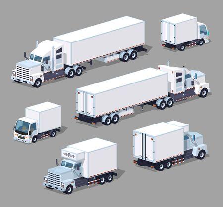 白いトラックのセット。3 D lowpoly 等尺性のベクトル図です。灰色の背景に対して隔離される、2 つの側面から表示されるオブジェクトのセット  イラスト・ベクター素材
