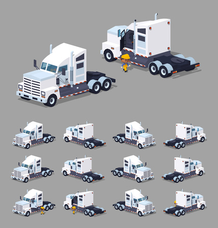 haul: Heavy american white truck. 3D lowpoly isometric vector illustration. The set of objects isolated against the grey background and shown from different sides
