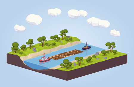 Timber floating on a tow down the river. 3D lowpoly isometric vector concept illustration