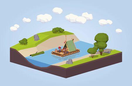 Viaggio lungo il fiume su una zattera. 3D isometrico lowpoly concetto di illustrazione vettoriale