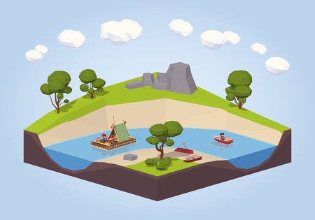 Travel down the river on a raft and punt. 3D lowpoly isometric vector concept illustration