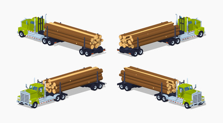 hauling: Log truck with the pile of logs. 3D lowpoly isometric vector illustration. The set of objects isolated against the white background and shown from different sides