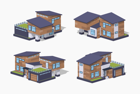 Contemporary american house. 3D lowpoly isometric vector illustration. The set of objects isolated against the white background and shown from different sides