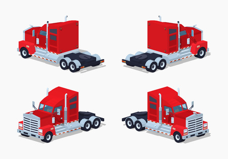 haul: Red heavy american truck. 3D lowpoly isometric vector illustration. The set of objects isolated against the white background and shown from different sides