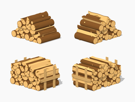 Firewood stacked in piles. 3D lowpoly isometric vector illustration. The set of objects isolated against the white background and shown from different sides Vettoriali