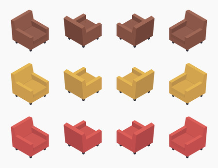 armchairs: Set of the isometric modern colored armchairs. The objects are isolated against the white background and shown from different sides Illustration