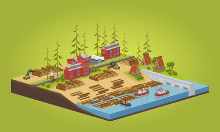 Lumber mill near the river. 3D lowpoly isometric vector concept illustration
