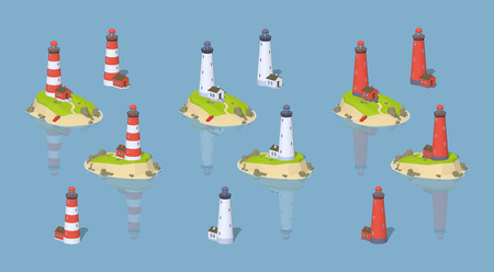 Lighthouses. 3D lowpoly isometric vector illustration. The set of objects isolated against the blue background and shown from two sides Vectores