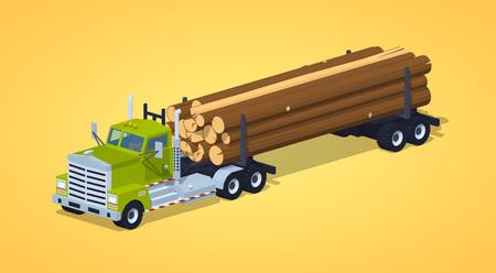 トラックを黄色の背景に対してログの山にログオンします。3 D lowpoly 等尺性ベクトル図