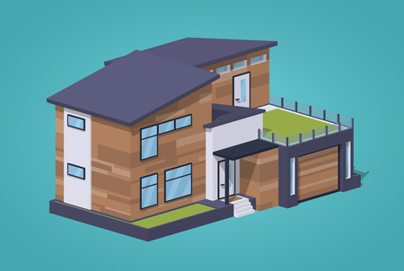 patio deck: Contemporary american house against the blue background. 3D lowpoly isometric vector illustration