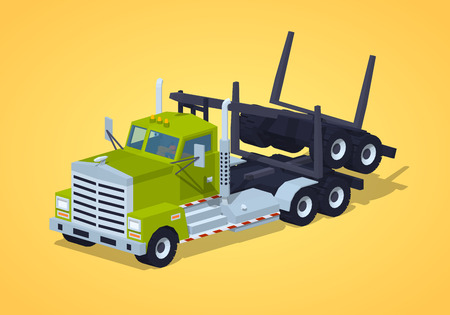 logging: Folded log truck against the yellow background. 3D lowpoly isometric vector illustration