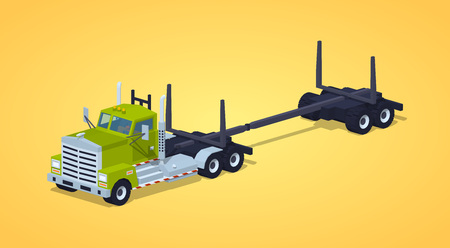 logging: Empty log truck against the yellow background. 3D lowpoly isometric vector illustration Illustration