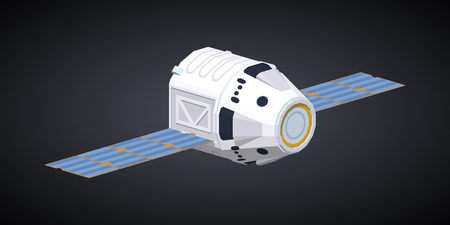 reusable: Modern reusable spaceship against the black background. 3D lowpoly isometric vector illustration
