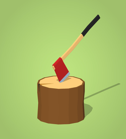 woodsman: Hatchet in the stump against the green background. 3D lowpoly isometric vector illustration