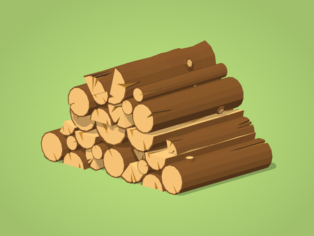firewood: Firewood stacked in piles against the green background. 3D lowpoly isometric vector illustration Illustration