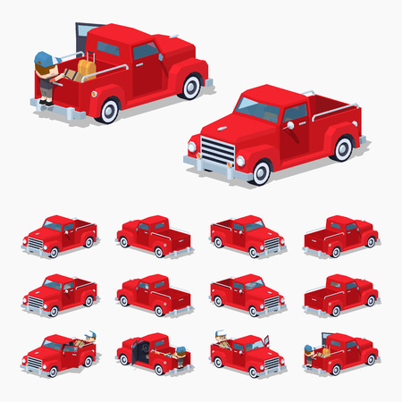 pickup: Red retro pickup. 3D lowpoly isometric vector illustration. The set of objects isolated against the white background and shown from different sides