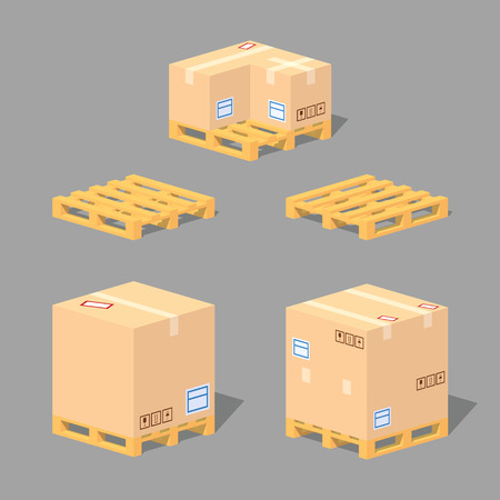 Cardboard boxes on the pallets. 3D lowpoly isometric vector illustration. The set of objects isolated against the grey background and shown from different sides Vectores