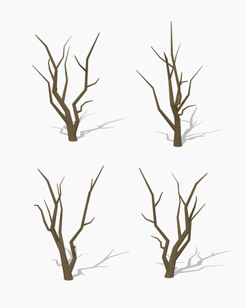 a bough: Dried tree. 3D lowpoly isometric vector illustration. The set of objects isolated against the white background and shown from different sides