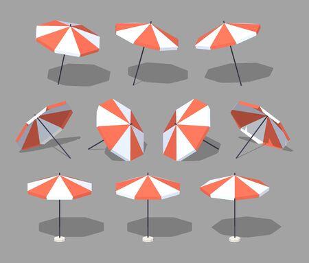 Sonnenschirm. 3D Lowpoly isometrische Vektor-Illustration. Die Menge der Objekte isoliert vor dem grauen Hintergrund und von verschiedenen Seiten gezeigt