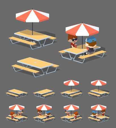 outdoor dining: Cafe table with sun umbrella. 3D lowpoly isometric vector illustration. The set of objects isolated against the grey background and shown from different sides