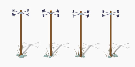 puntos cardinales: Navigation pole. 3D lowpoly isometric vector illustration. The set of objects isolated against the white background and shown from different sides