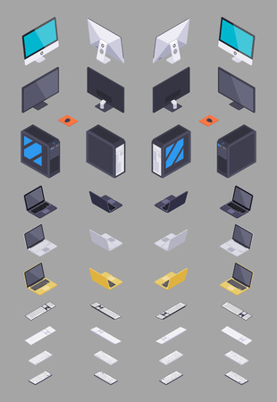 Collection of the isometric electronic hardware. The objects are isolated against the grey background and shown from different sides Illustration