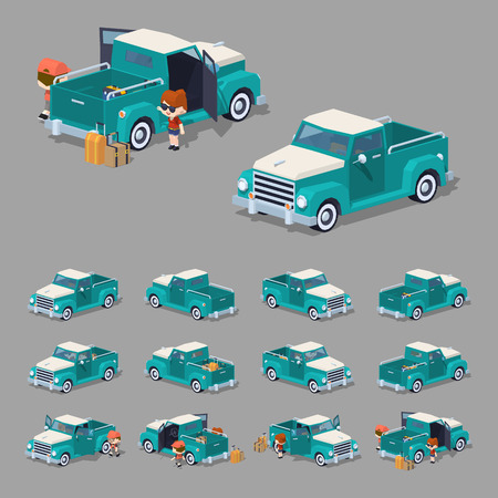 pickup: Turquoise retro pickup. 3D lowpoly isometric vector illustration. The set of objects isolated against the grey background and shown from different sides