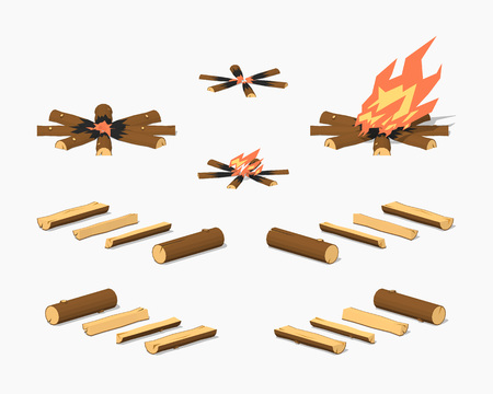 firewood background: Campfire and firewood. 3D lowpoly isometric vector illustration. The set of objects isolated against the white background and shown from different sides