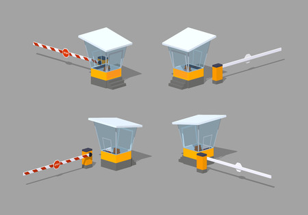 Barrier and toll booth. 3D lowpoly isometric vector illustration. The set of objects isolated against the grey background and shown from different sides