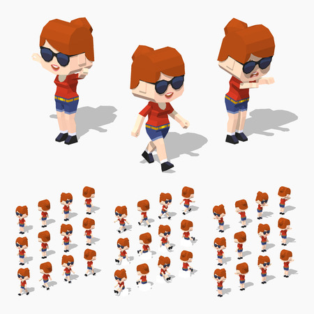 redhead girl: Redhead girl. 3D lowpoly isometric illustration. The set of objects isolated against the white background and shown from different sides Illustration