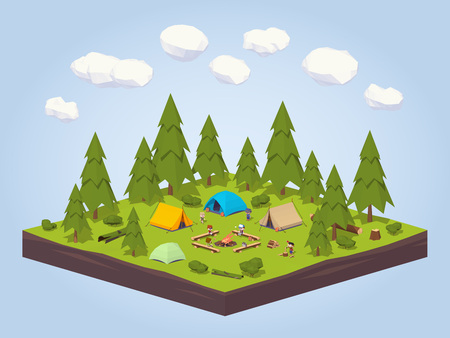 camping equipment: Campsite in the woods. 3D lowpoly isometric concept illustration