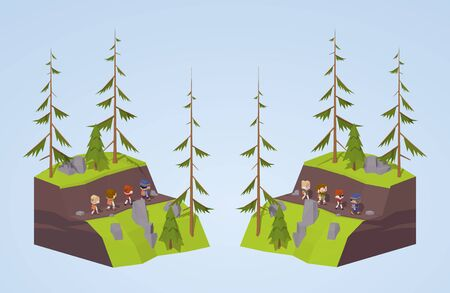 footpath: Footpath in the mountains. 3D lowpoly isometric concept illustration