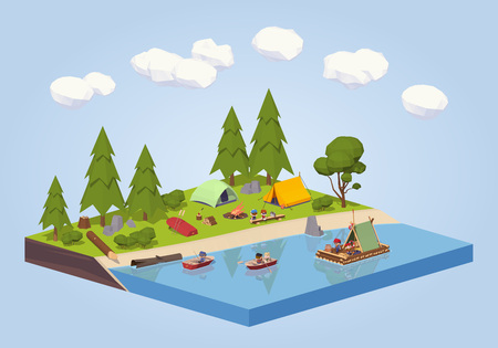 green river: Campsite near the river. 3D lowpoly isometric concept illustration