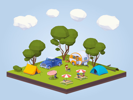 outdoor chair: Barbecue in the tourist camp. 3D lowpoly isometric concept illustration