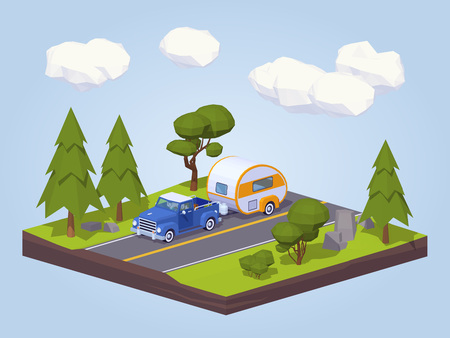 truck on highway: Pickup truck with trailer house on the highway. 3D lowpoly isometric concept illustration