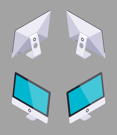 computer graphic: Set of the isometric generic monoblock computers. The objects are isolated against the grey background and shown from different sides