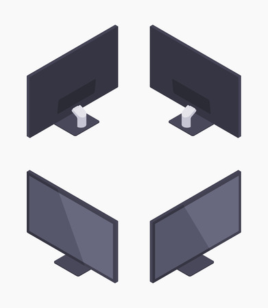 fullhd: Set of the isometric black HD monitors. The objects are isolated against the white background and shown from different sides