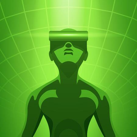 Futuristic male figure in the VR headset