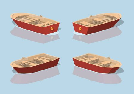 punt: Low poly red punt boat