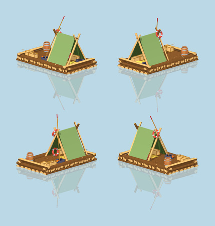 raft: Low poly wooden raft. 3D lowpoly isometric vector illustration. The set of objects isolated against the light-blue background and shown from different sides