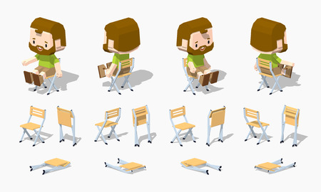 Folding chair. 3D lowpoly isometric vector illustration. The set of objects isolated against the white background and shown from different sides Illustration