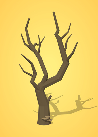 leafless: Dried tree against the yellow background. 3D lowpoly isometric vector illustration