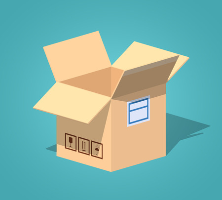 corrugated box: Open empty cardboard box against the blue background. 3D lowpoly isometric vector illustration
