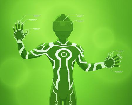 Futuristic male figure in the VR headset. Vector concept illustration